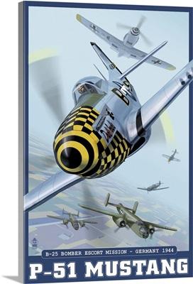 B-25 Bomber Escort Mission - P-51 Mustang: Retro Travel Poster