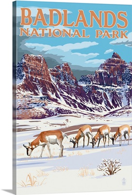 Badlands National Park, South Dakota - Antelope in Winter: Retro Travel Poster