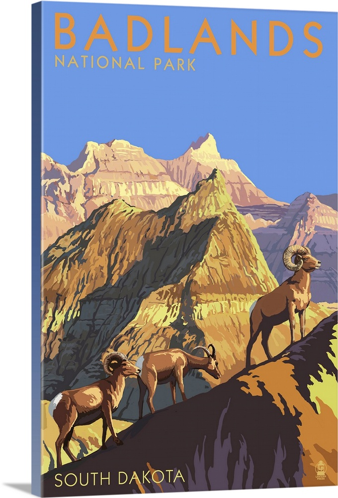 Badlands National Park South Dakota Bighorn Sheep Retro Travel Poster Wall Art Canvas Prints Framed Prints Wall Peels Great Big Canvas