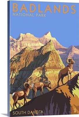 Badlands National Park, South Dakota - Bighorn Sheep: Retro Travel Poster
