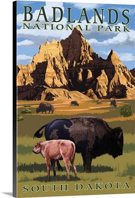Badlands National Park, South Dakota - Bison Scene: Retro Travel Poster
