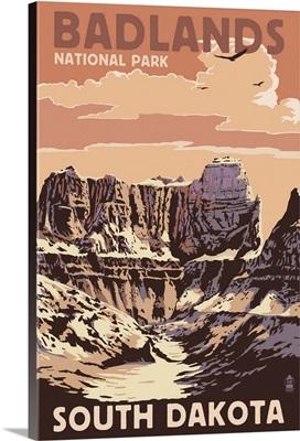 Badlands National Park, South Dakota - Castle Rock: Retro Travel Poster