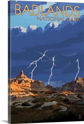 Badlands National Park, South Dakota - Lightning Storm: Retro Travel Poster