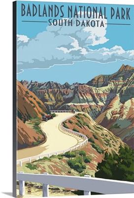 Badlands National Park, South Dakota - Road Scene: Retro Travel Poster