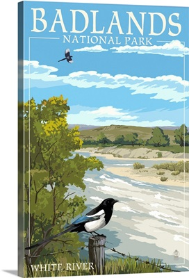 Badlands National Park, South Dakota - White River: Retro Travel Poster