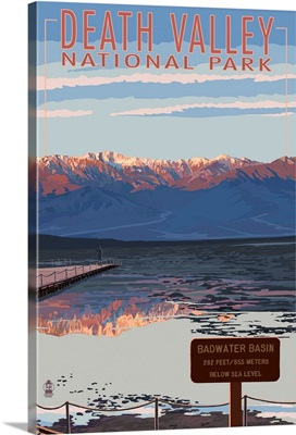 Badwater - Death Valley National Park: Retro Travel Poster