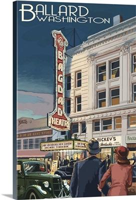 Bagdad Theatre - Ballard, Seattle, WA: Retro Travel Poster