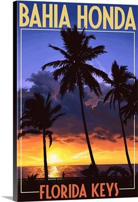 Bahia Honda, Florida Keys - Palms and Sunset: Retro Travel Poster