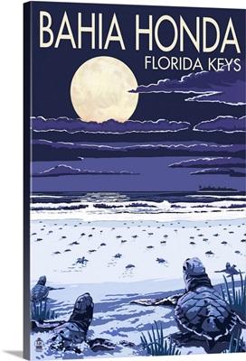 Bahia Honda, Florida Keys - Sea Turtles Hatching: Retro Travel Poster