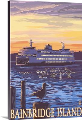 Bainbridge Island, WA - Ferry and Sunset: Retro Travel Poster