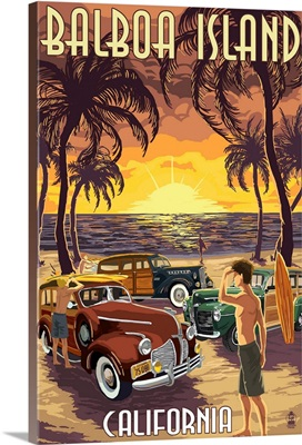 Balboa Island, California - Woodies on the Beach: Retro Travel Poster