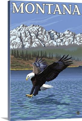 Bald Eagle Diving - Montana: Retro Travel Poster