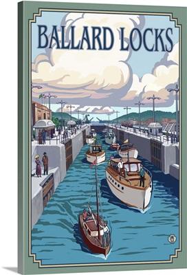 Ballard Locks - Seattle: Retro Travel Poster
