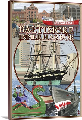 Baltimore Inner Harbor Scenes - Maryland: Retro Travel Poster