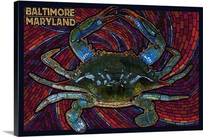 Baltimore, Maryland - Blue Crab Paper Mosaic: Retro Travel Poster
