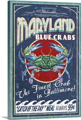 Baltimore, Maryland - Blue Crabs Vintage Sign: Retro Travel Poster