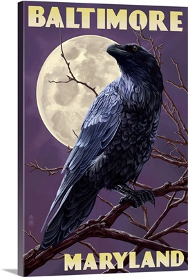 Baltimore, Maryland - Raven and Moon Purple Sky: Retro Travel Poster