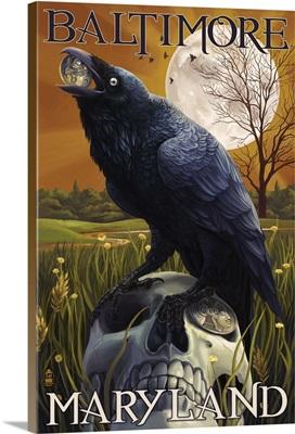 Baltimore, Maryland - Raven and Skull: Retro Travel Poster