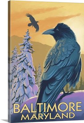 Baltimore, Maryland - Raven: Retro Travel Poster