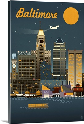 Baltimore, Maryland - Retro Skyline: Retro Travel Poster