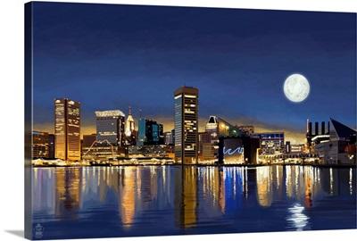 Baltimore, Maryland, Skyline at Night