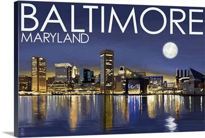 Baltimore, Maryland - Skyline at Night: Retro Travel Poster