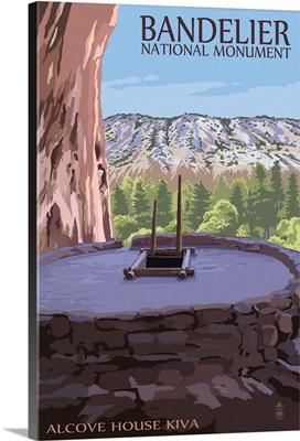 Bandelier National Monument, New Mexico - Alcove House Kiva: Retro Travel Poster