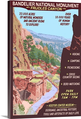 Bandelier National Monument, New Mexico - Day Scene: Retro Travel Poster