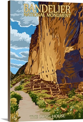 Bandelier National Monument, New Mexico - The Long House: Retro Travel Poster