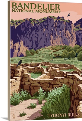 Bandelier National Monument, New Mexico - Tyuonyi Ruins: Retro Travel Poster