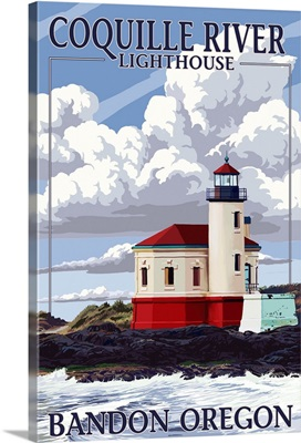 Bandon, Oregon - Coquille River Lighthouse: Retro Travel Poster