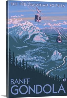 Banff, Alberta, Canada - View of Banff Gondola: Retro Travel Poster