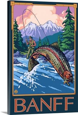 Banff, Canada - Angler: Retro Travel Poster