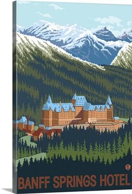 Banff, Canada - Banff Springs Hotel: Retro Travel Poster
