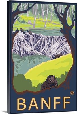 Banff, Canada - Beaver Family: Retro Travel Poster