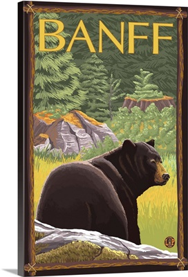 Banff, Canada - Black Bear in Forest: Retro Travel Poster