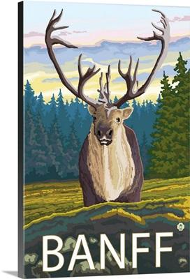 Banff, Canada - Caribou (Front): Retro Travel Poster