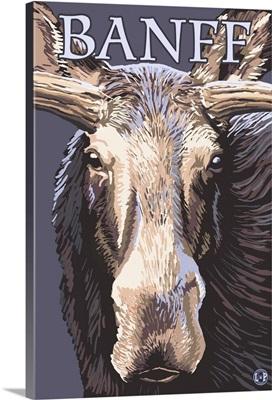 Banff, Canada - Moose Face: Retro Travel Poster