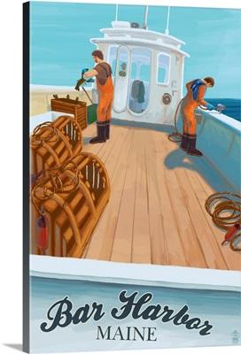 Bar Harbor, Maine - Lobster Boat: Retro Travel Poster