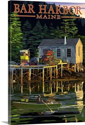 Bar Harbor, Maine - Lobster Shack: Retro Travel Poster