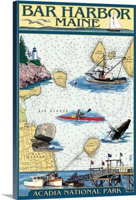 Bar Harbor, Maine - Nautical Chart: Retro Travel Poster