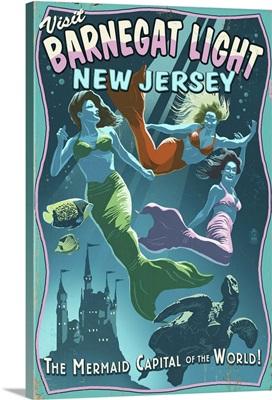 Barnegat Light, New Jersey - Mermaids Vintage Sign: Retro Travel Poster