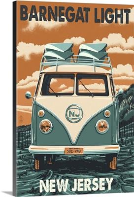 Barnegat Light, New Jersey - VW Van Letterpress: Retro Travel Poster