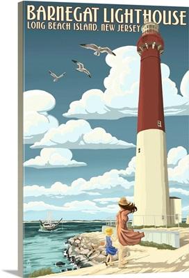 Barnegat Lighthouse - New Jersey Shore: Retro Travel Poster