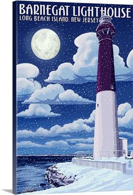 Barnegat Lighthouse - Snow Scene - New Jersey Shore: Retro Travel Poster