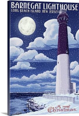 Barnegat Lighthouse Winter Scene - New Jersey Shore: Retro Travel Poster