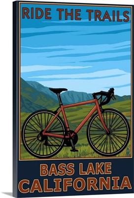 Bass Lake, California - Bicycle Scene: Retro Travel Poster