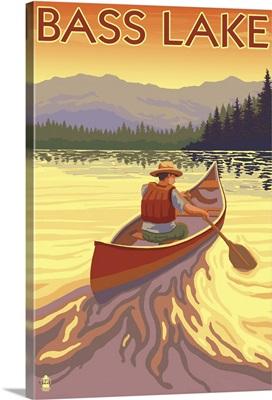 Bass Lake, California - Canoe Scene: Retro Travel Poster