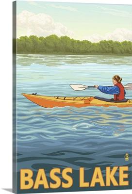 Bass Lake, California - Kayak: Retro Travel Poster