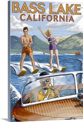 Bass Lake, California - Water Skiing: Retro Travel Poster